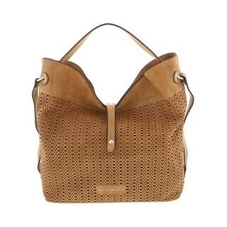 Kathy Ireland Womens Hobo Handbag Faux Leather Laser Cut - LARGE