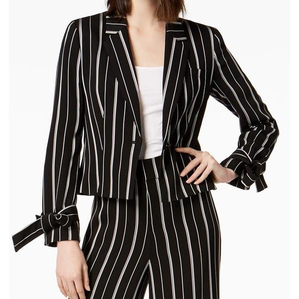 Nine West Black White Womens 14 Striped Tie Sleeve Blazer Jacket