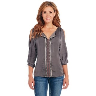 Cowgirl Up Western Shirt Womens Cutouts 3/4 Sleeve Charcoal CG60107