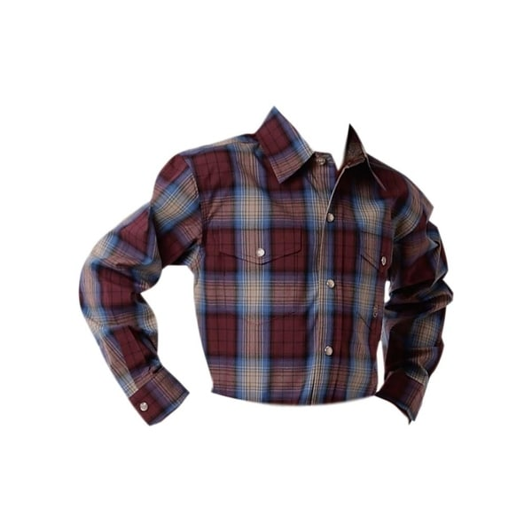 ce0da3ab6d65a Shop Roper Western Shirt Boys L/S Plaid Snap Wine - Free Shipping On ...