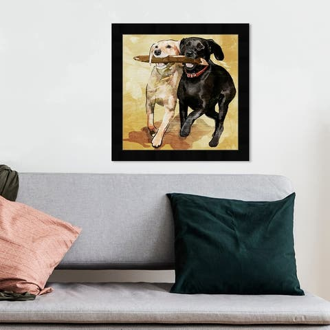 Oliver Gal 'Playtime' Animals Framed Wall Art Prints Dogs and Puppies - Black, Brown
