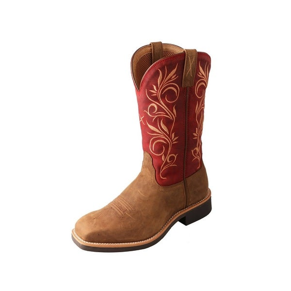 Twisted X Western Boots Womens Top Hand Rubber Saddle Red