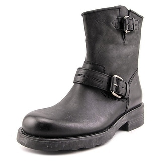 OXS Tronchetto   Round Toe Leather  Combat Boot