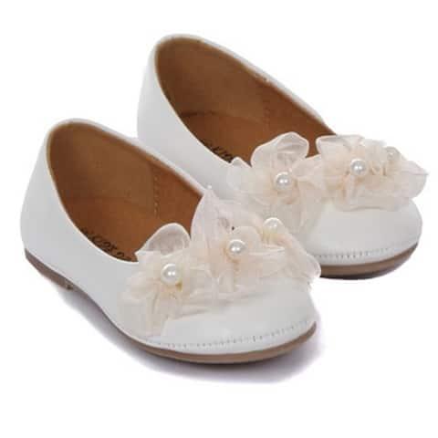 Kids Dream Ivory Organza Flower Ballet Flats Girl Dress Shoes 4-10