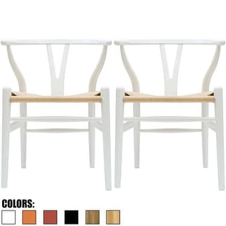 Link to 2xhome Set of 2 White Modern Wood Dining Chair with Y Back Arm Armchair Hemp Seat For Home Restaurant Office Similar Items in Dining Room & Bar Furniture