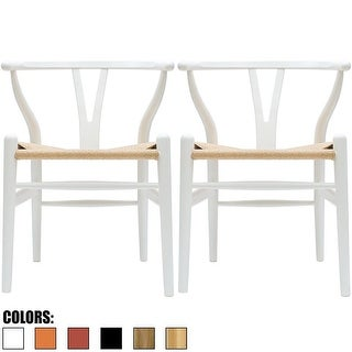 2xhome Set of 2 White Modern Wood Dining Chair With Y Back Arm Armchair Hemp Seat For Home Restaurant Office - N/A