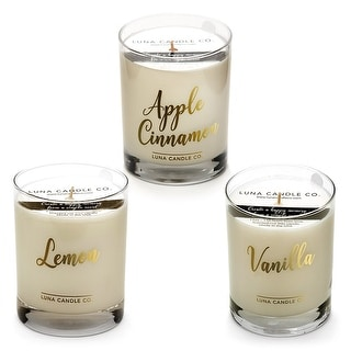 Premium Soy Wax Jar Candles, Apple, Vanilla and Lemon, USA (Set of 3)