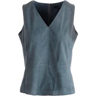 Lauren Ralph Lauren Womens Pullover Top Suede V-Neck