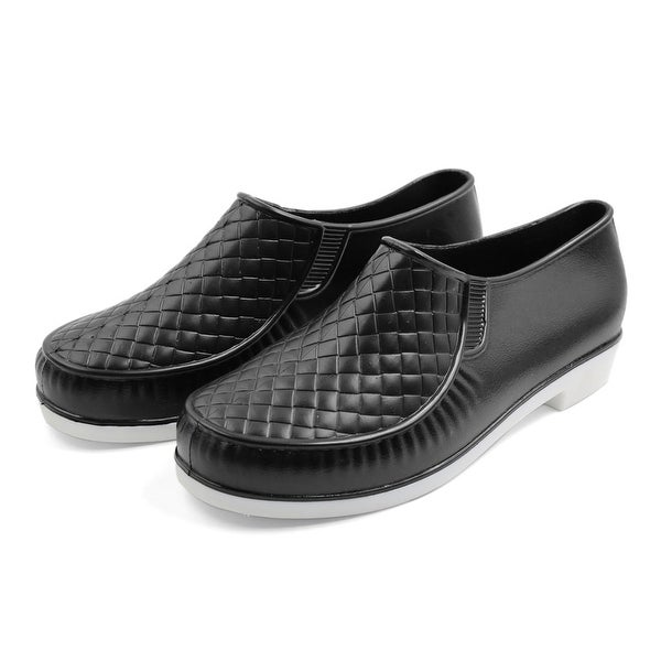 Black US 7.5 Rubber Rhombus Pattern Nonslip Waterproof Rain Boots Wellies Shoes