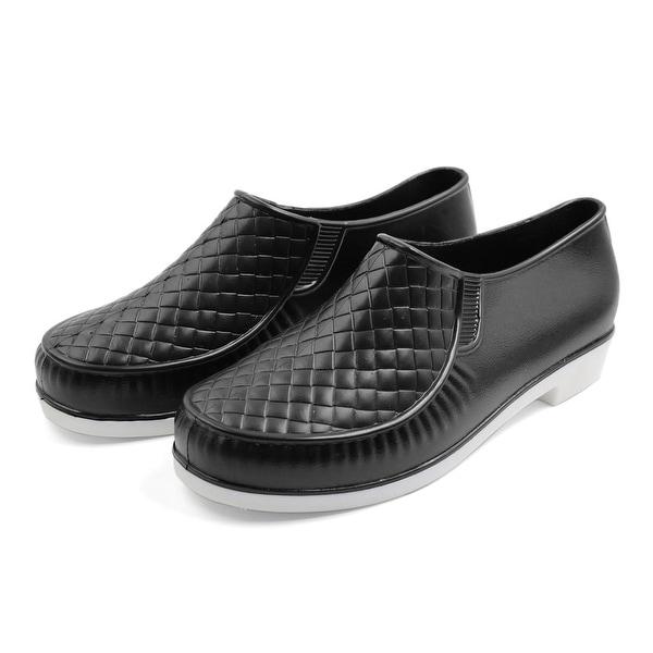 Women Black US 6.5 Rubber Rhombus Pattern Nonslip Rain Boots Wellies Ankle Shoes
