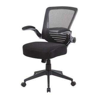 Mesh Back Chair, Gun Metal Finish Padded Mesh Flip Arms - Black