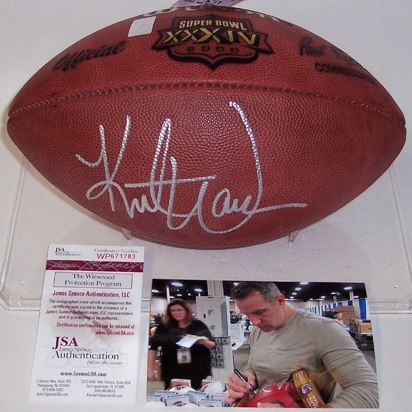 huge discount 52a23 085af Kurt Warner Autographed Hand Super Bowl 34 30IV Official Leather NFL  Football JSA
