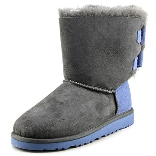 Ugg Australia Bailey Bow Youth Round Toe Suede Gray Winter Boot