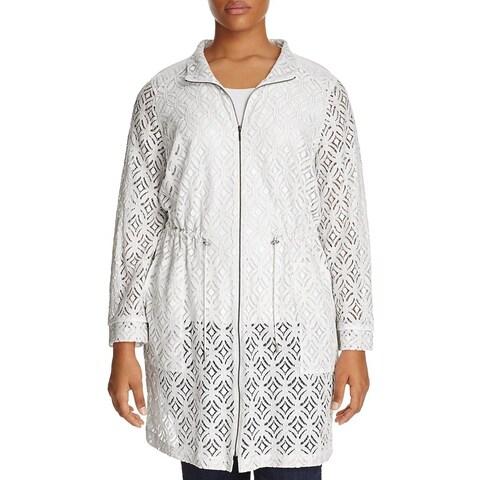 Nic + Zoe White Women's Size 3X Plus Lace Trench Anorak Jacket