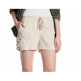Susina NEW Beige Women's Size Large L Cargo Solid Drawstring Linen Shorts