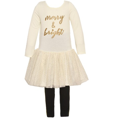 "Rare Editions Baby Girls Ivory Gold ""Merry & Bright"" 2 Pc Legging Set"