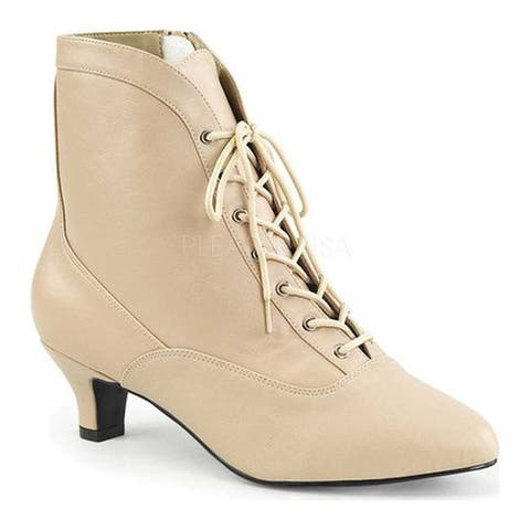 Pleaser Pink Label Women's Fab-1005 Ankle Boot Cream Faux Leather