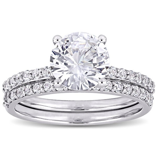 Miadora 10k White Gold Created White Sapphire Wedding Ring Set. Opens flyout.
