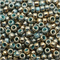 Toho Round Seed Beads 8/0 1703 - Gilded Marble Turquoise (8 Grams)