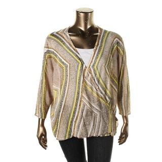 Nic + Zoe Womens Plus Knit Wrap Cardigan Sweater