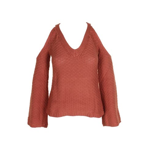 American Rag Juniors Toasted Clay Bell-Sleeve Cold-Shoulder V-Neck Sweater S