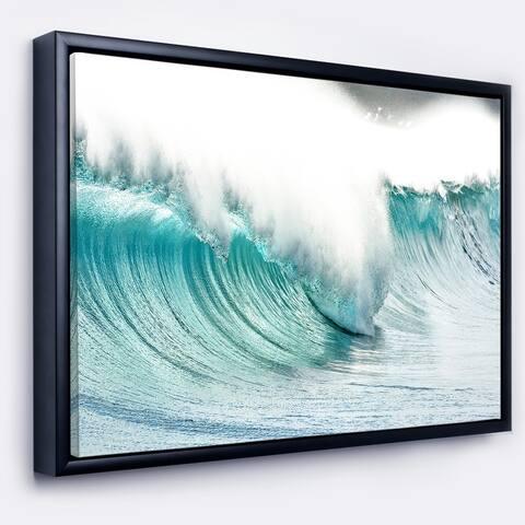 Designart 'Massive Blue Waves Breaking Beach' Seashore Framed Canvas Art Print