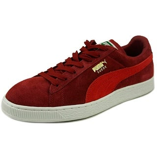 Puma Suede Classic + Men Round Toe Leather Red Sneakers