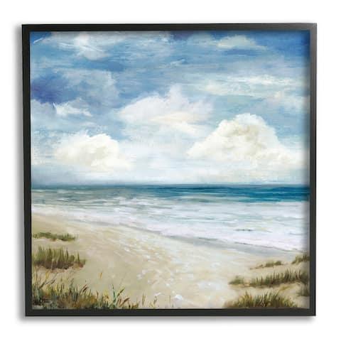 Stupell Industries Cloudy Sky Beach Coast Landscape White Foam Tide Framed Wall Art