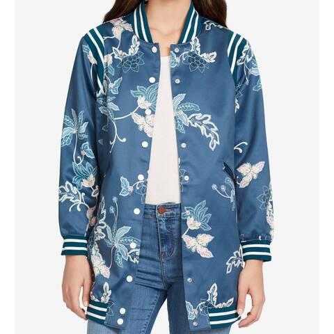 William Rast Women's Blue Magnolia Medium M Majolica Bomber Jacket