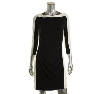 Lauren Ralph Lauren Womens Petites Matte Jersey Contrast Trim Wear to Work Dress