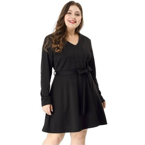 Women's Plus Size Above Knee Long Sleeves Belted V neck Dress - Black