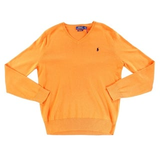 Polo Ralph Lauren NEW Orange Mens Size XS V-Neck Solid Pullover Sweater