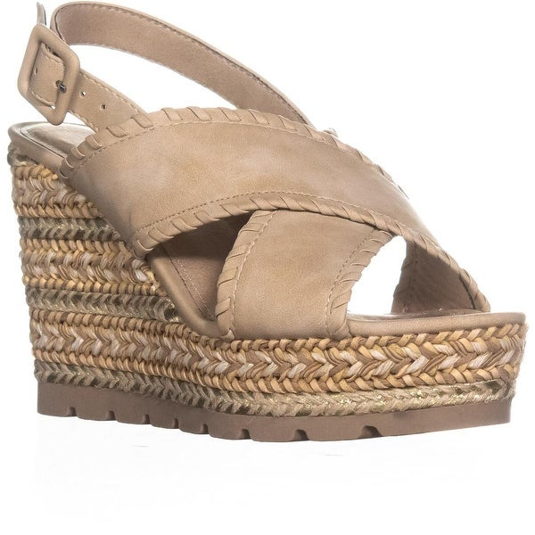 Seven Dials Alessandra Criss Cross Wedge Sandals, Natural/Sueded/Smooth - 7 us