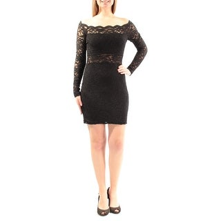 Womens Black Long Sleeve Above The Knee Cocktail Dress Size: 9