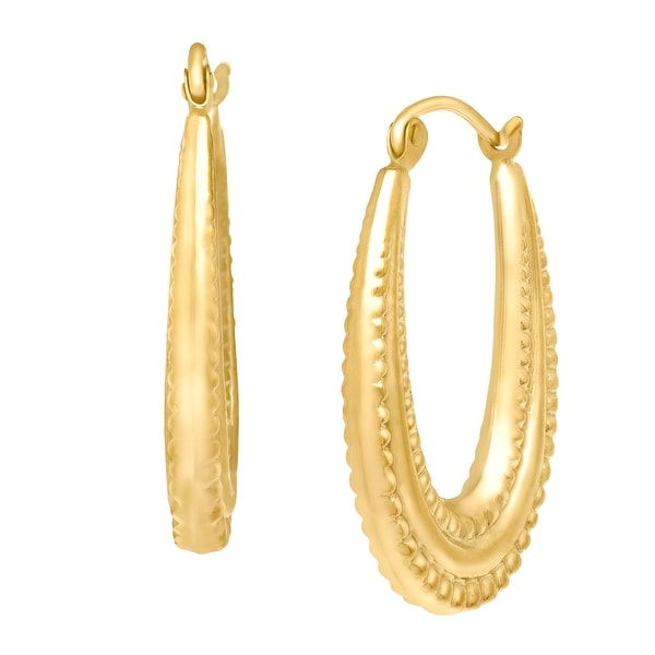 Just Gold Beaded Oval Hoop Earrings in 10K Yellow Gold