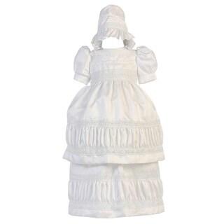 Angels Garment Baby Girls White Poly Dupioni Convertible Baptism Dress 3-18M