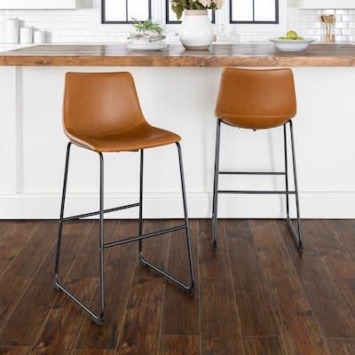 Carbon Loft Prusiner Faux Leather Barstools (Set of 2)