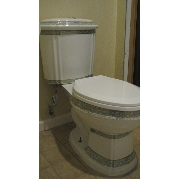 Shop Dual Flush Elongated Two-Piece Toilet White And Green Porcelain ...