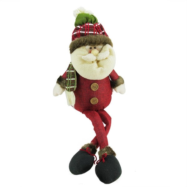"27"" Red and Green Plush Plaid Santa Shelf Sitter Decorative Christmas Figure"