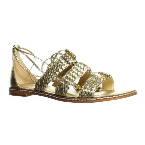 c2f81d488fe Shop Michael Kors Womens Gladiator Pale Gold Ankle Strap Flats Size ...