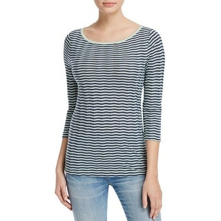 Three Dots Womens Pullover Top Knit Chevron Striped