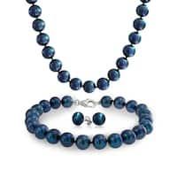 Bling Jewelry Sterling Silver Peacock Potato Freshwater Cultured Pearl Necklace Bracelet Earrings Set