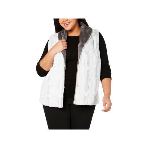 Alfred Dunner Womens Plus Outerwear Vest White Faux-Fur