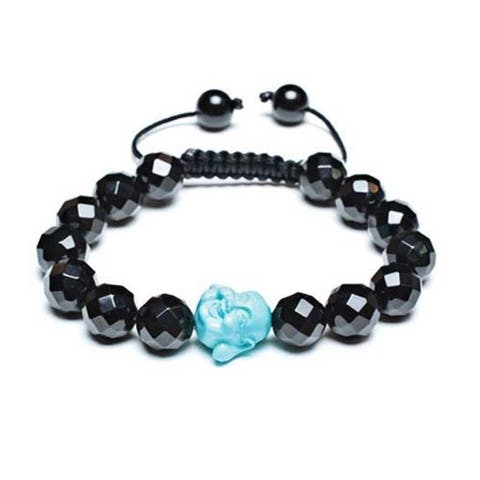 Craved Blue Buddha Black Faceted Ball Bead Bracelet Adjustable Cord