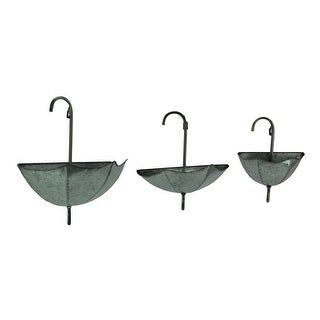 Set of 3 Galvanized Zinc Finish Wall Mounted Umbrella Planters - 16 X 16.25 X 7.5 inches