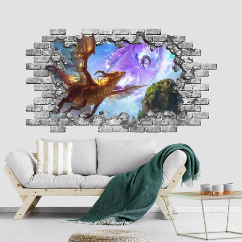 Dragon Wall Decal. 3D Hole in Wall Vinyl Sticker.