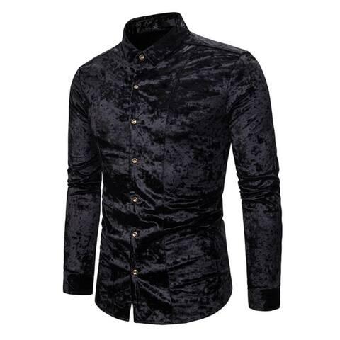 Men's Shirt Velvet Slim Fit Long Sleeve Casual Button Down Shirt