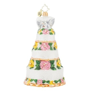 Christopher Radko Glass Bridal Centerpiece Wedding Cake Christmas Ornament #1017934