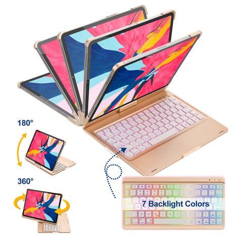 AGPtek iPad Pro 112018 Keyboard Case w/ Free Rotation, Auto Wake/Sleep & 7 colors + 3 Level Rightness Back Lit Keyboard