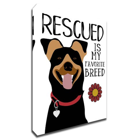 Rescued is my Favorite Breed by Ginger Oliphant Print on Canvas, Ready to Hang